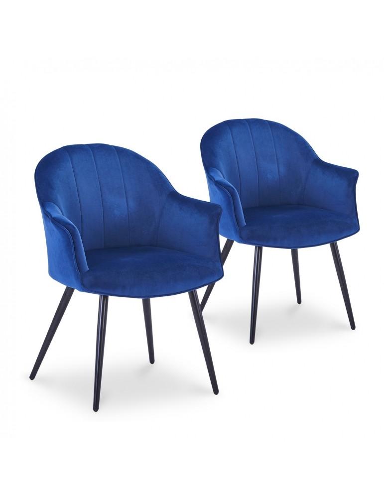 Lot de 2 Fauteuils Williams Velours Bleu c985blue