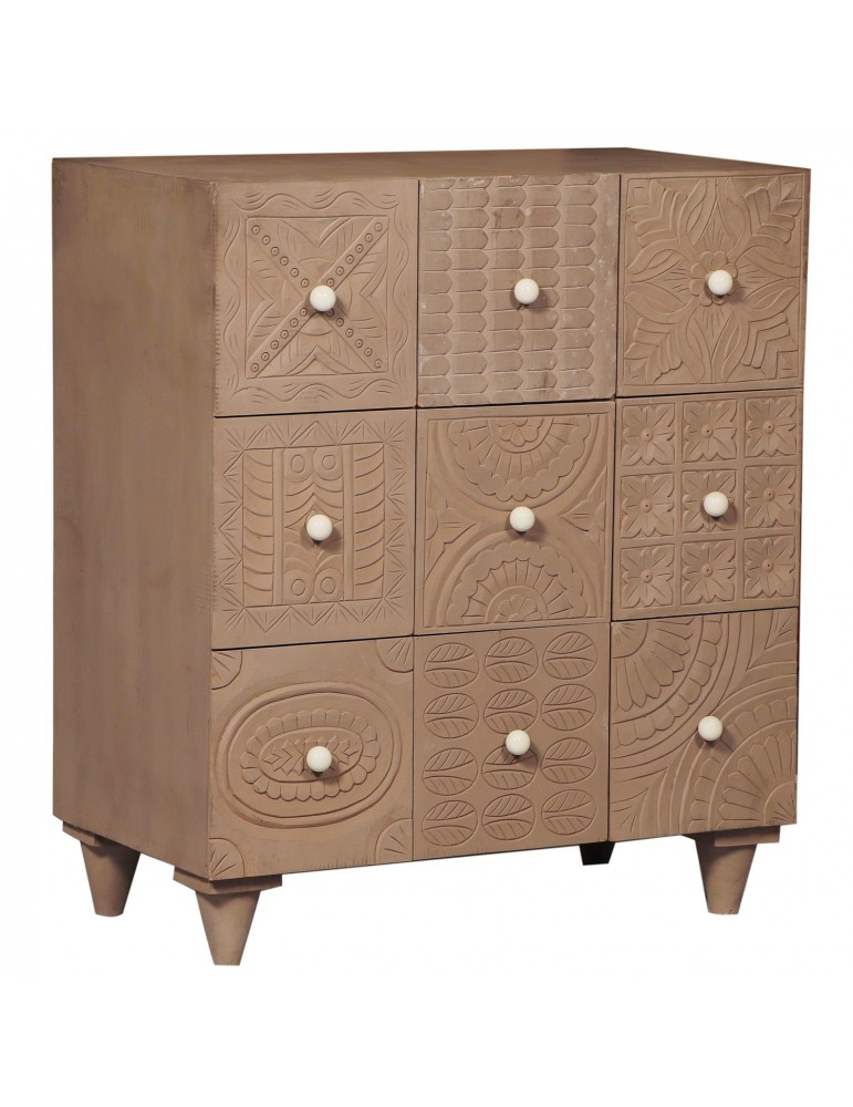 Commode 9 Tiroirs Rajkot Bois Marron g38039brown