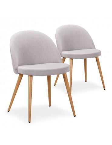 Lot de 2 chaises scandinaves Maury tissu Gris Clair dc5106lot2lightgreyfabric