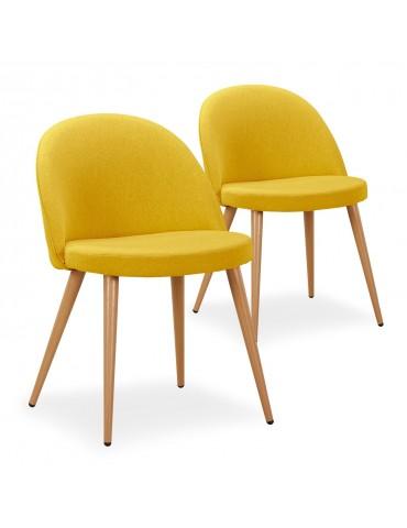 Lot de 2 chaises scandinaves Maury tissu Jaune dc5106lot2yellowfabric