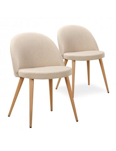 Lot de 2 chaises scandinaves Maury tissu Beige dc5106lot2beigefabric