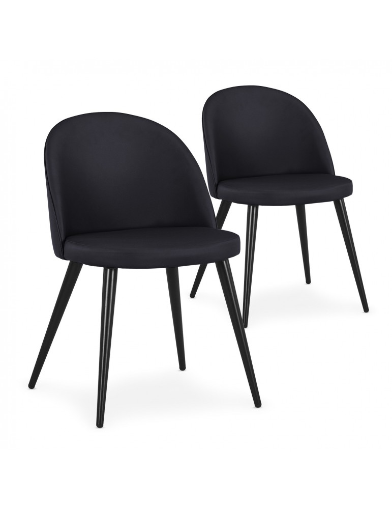 Lot de 2 chaises scandinaves Maury Simili P.U. Noir dc5106lot2blackpu