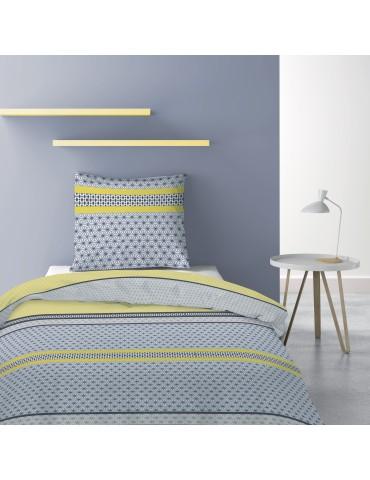 Parure de lit 1 personne avec housse de couette et 1 taie d'oreiller Vaxo Celeri 140 x 200 6195025502Les Ateliers du Linge
