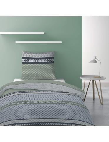 Parure de lit 1 personne avec housse de couette et 1 taie d'oreiller Vaxo Mousse 140 x 200 6195050502Les Ateliers du Linge