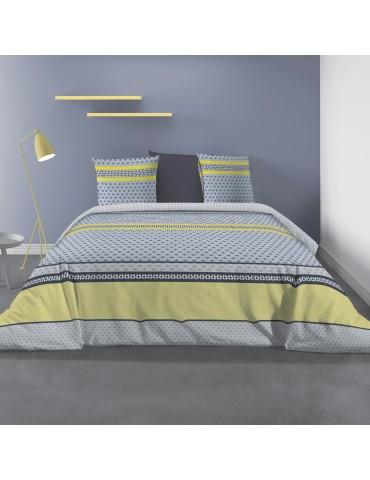 Parure de lit 2 personnes avec housse de couette et 2 taies d'oreiller Vaxo Celeri 220 x 240 6203025503Les Ateliers du Linge