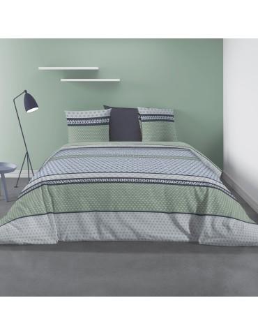 Parure de lit 2 personnes avec housse de couette et 2 taies d'oreiller Vaxo Mousse 240 x 260 6240050503Les Ateliers du Linge