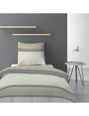 Parure de lit 1 personne avec housse de couette et 1 taie d'oreiller Sofra Naturel 140 x 200 6180000502Les Ateliers du Linge