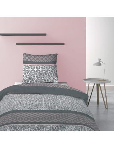 Parure de lit 1 personne avec housse de couette et 1 taies d'oreiller Sofra Blush 140 x 200 6180039502Les Ateliers du Linge