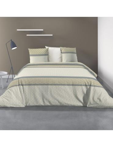 Parure de lit 2 personnes avec housse de couette et 2 taies d'oreiller Sofra Naturel 240 x 260 6193000503Les Ateliers du Linge