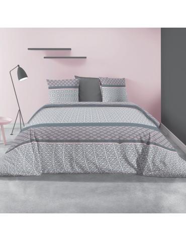 Parure de lit 2 personnes avec housse de couette et 2 taies d'oreiller Sofra Blush 240 x 260 6193039503Les Ateliers du Linge