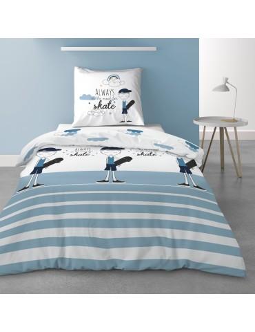Parure de lit 1 personne avec housse de couette et 1 taie d'oreiller Valentin Imprimé 140 x 200 5567000502Les Ateliers du Linge