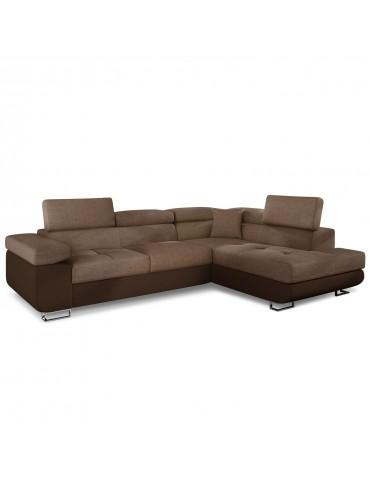 Canapé d'angle Antoni avec têtières relevables angle gauche simili Marron et tissu Marron angsoft66sawana25