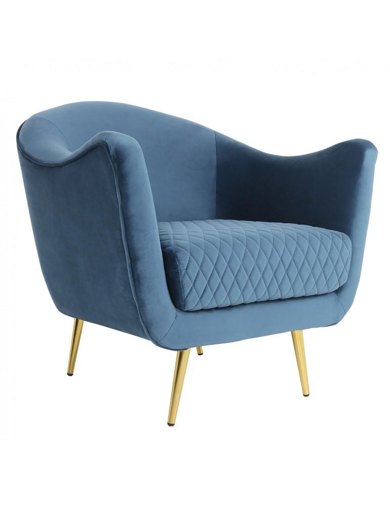Fauteuil Dalida Velours Bleu Pied Or lf33681blue