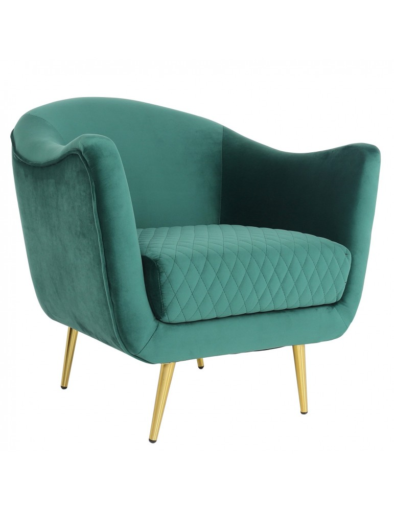Fauteuil Dalida Velours Vert Pied Or lf33681green