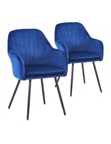 Lot de 2 Fauteuils Laura Velours Bleu c987blue