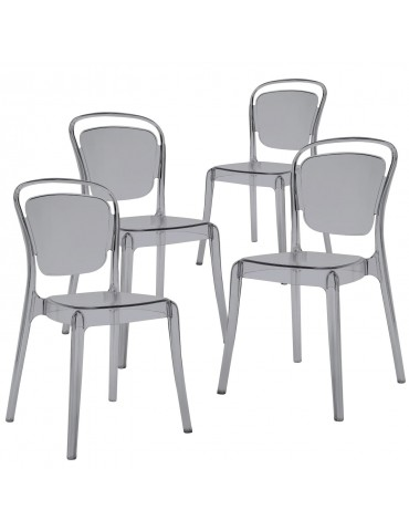 Lot de 4 Chaises Empilables Emilie Plexi Fumé 7769smoke