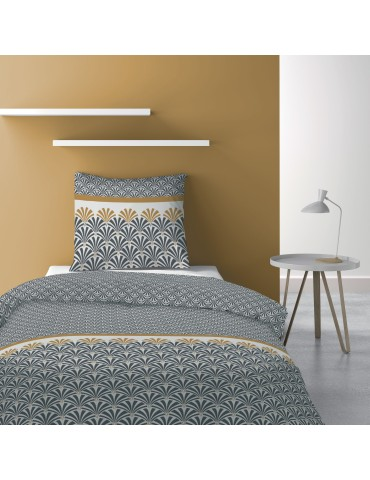 Parure de lit 1 personne avec housse de couette et 1 taie d'oreiller Balta Safran 140 x 200 6256044502Les Ateliers du Linge