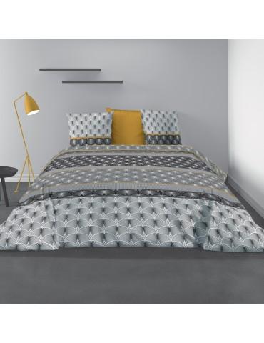Parure de lit 2 personnes avec housse de couette et 2 taies d'oreiller Saky Gold Imprimé 240 x 220 5383000503Les Ateliers du ...