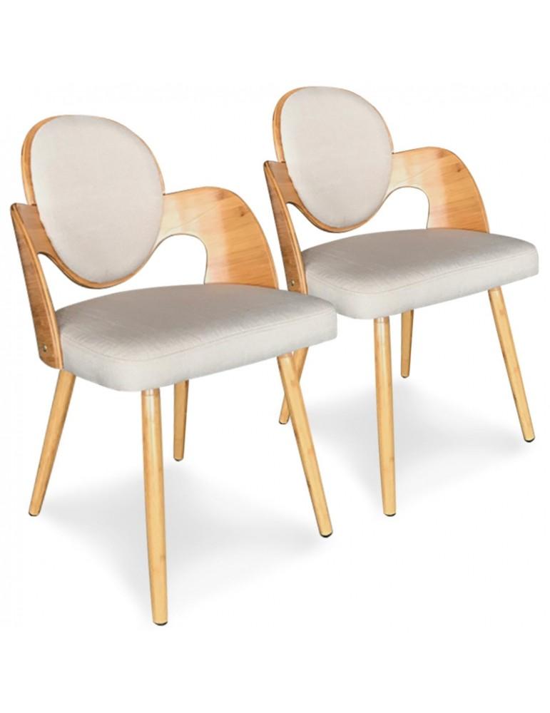Lot de 2 chaises scandinaves Galway Bois Naturel et Tissu Beige xgf399anatbeigefabric