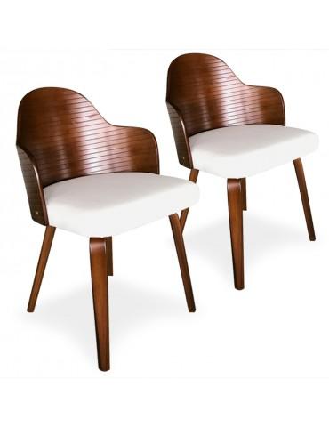 Lot de 2 chaises scandinaves Falbala Noisette et Blanc xgf407a3noisblanc