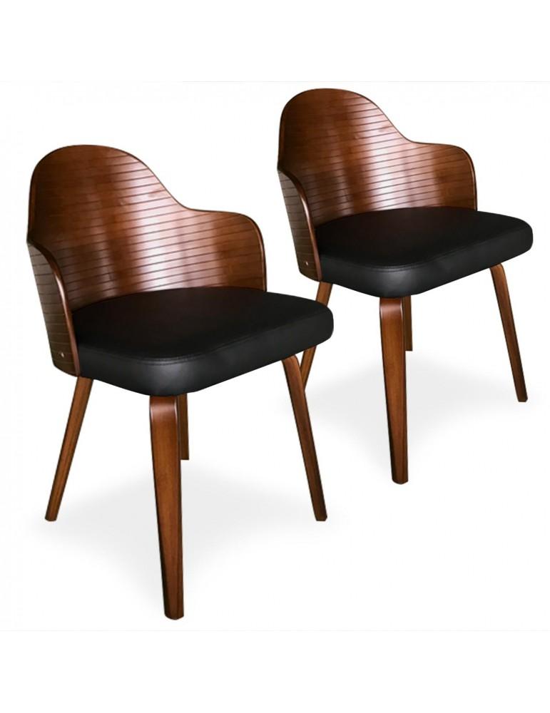 Lot de 2 chaises scandinaves Falbala Noisette et Noir xgf407a3noisnoir