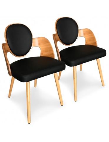 Lot de 2 chaises scandinaves Galway Bois Naturel et Noir xgf399anatnoir