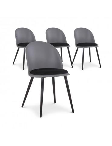 Lot de 4 chaises Fuji Gris et Noir c1021greyblack