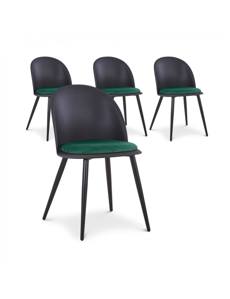 Lot de 4 chaises Fuji Noir et Vert c1021blackgreen