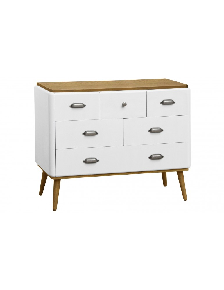 Commode Hansel scandinave 6 tiroirs Blanc 18ay010