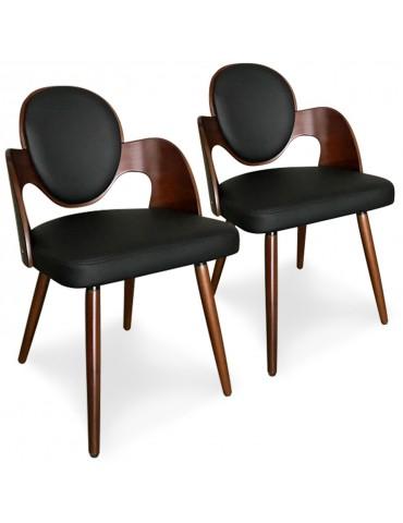 Lot de 2 chaises scandinaves Galway Bois Noisette et Noir xgf399anoisnoir