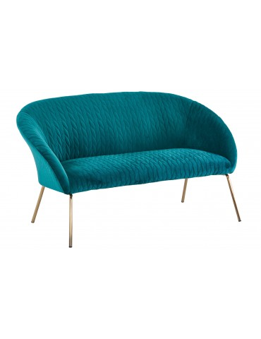 Canapé 2 Places Mojo Velours Vert Pied Or sf201green