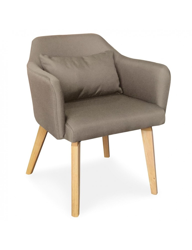 Chaise / Fauteuil scandinave Shaggy Tissu Taupe lsr19117puttyfabric