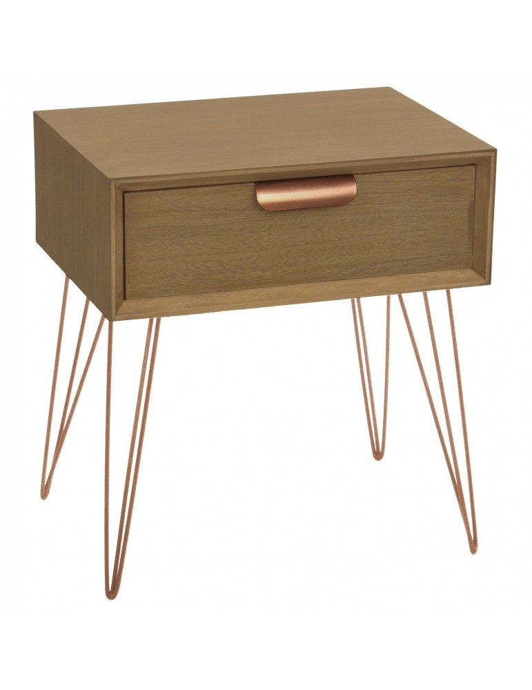 Table de chevet 1 tiroir Joraz Bois et métal Or rose 1530893