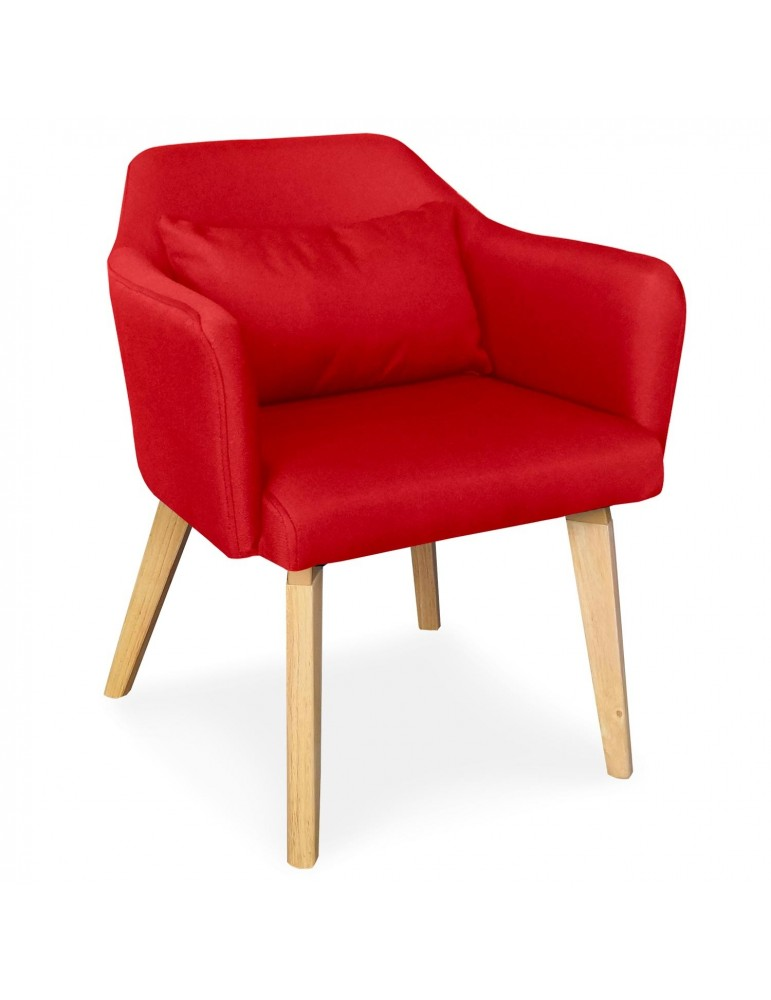 Chaise / Fauteuil scandinave Shaggy Tissu Rouge lsr19117redfabric