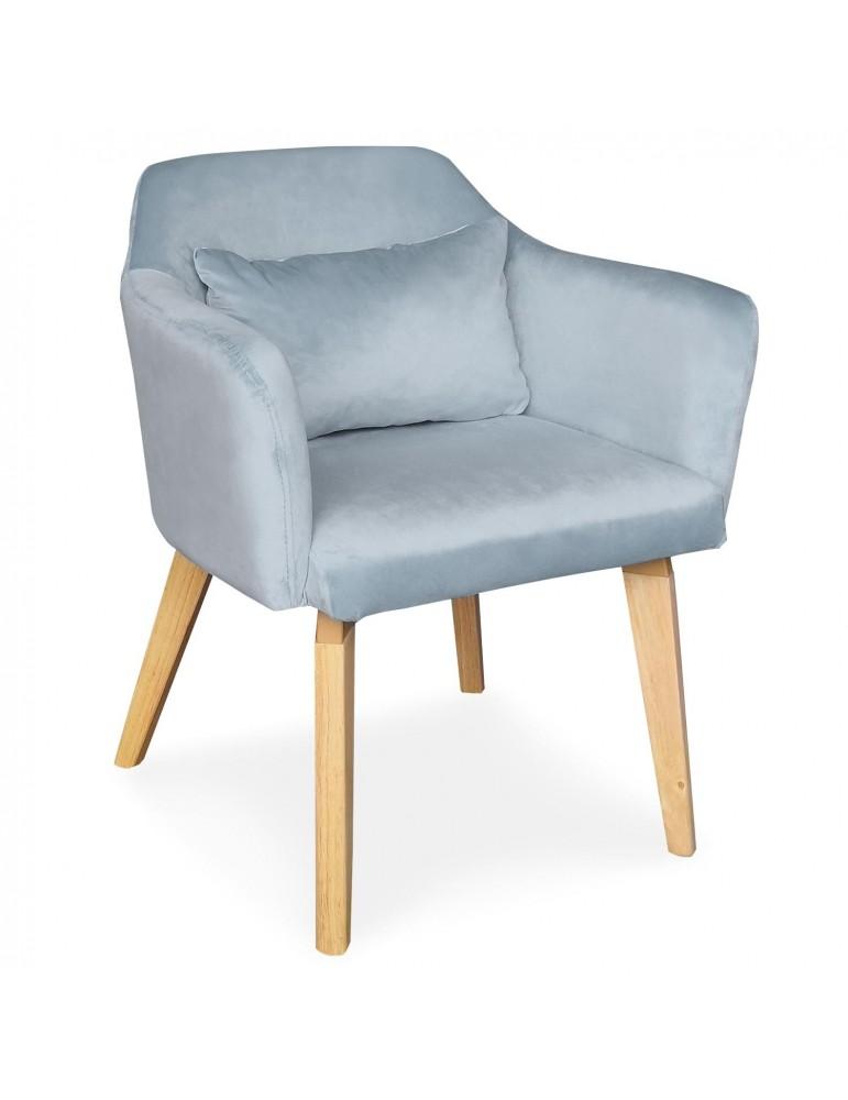 Chaise / Fauteuil scandinave Shaggy Velours Bleu Ciel lsr19117skyvelvet