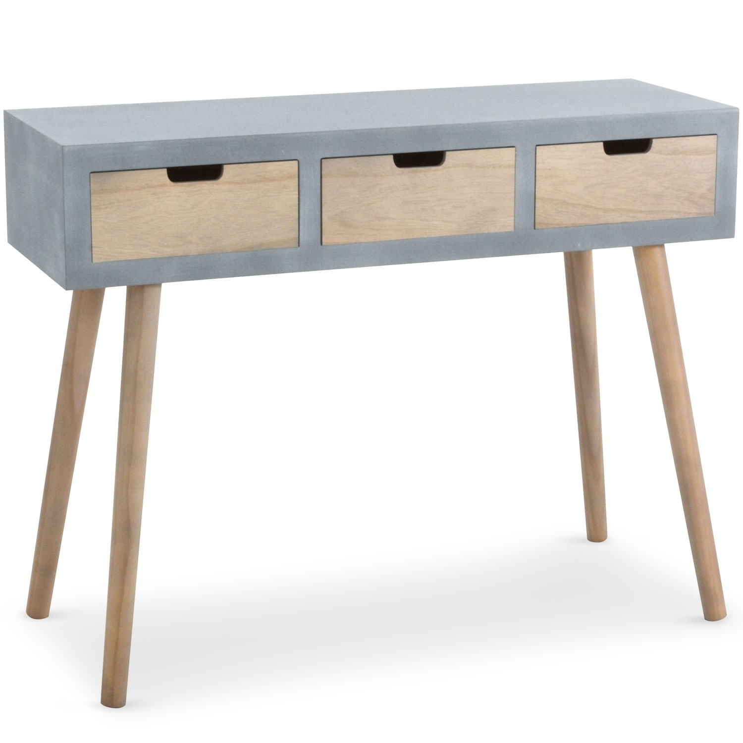 console scandinave 3 tiroirs tatum gris 1531040. Black Bedroom Furniture Sets. Home Design Ideas