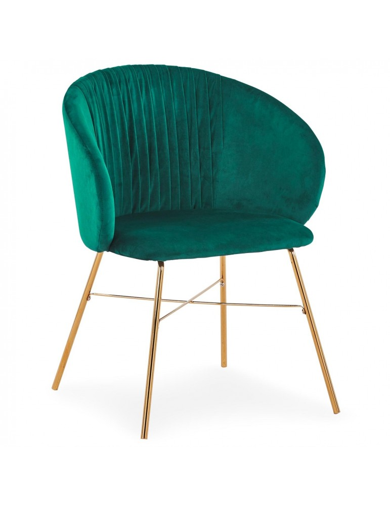 Chaise Smart Velours Vert Pieds Or c1023green18