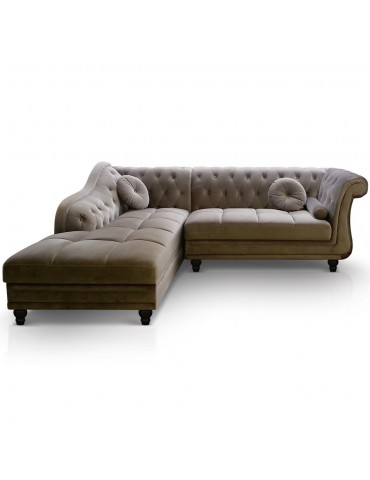 Canapé d'angle Brittish Velours Taupe style Chesterfield a968vdtaupe