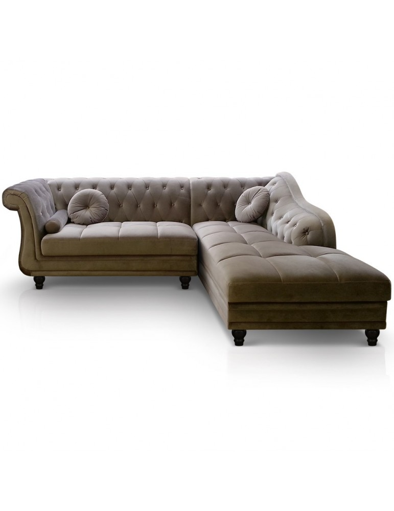 Canapé d'angle Brittish Velours Taupe style Chesterfield a968vgtaupe