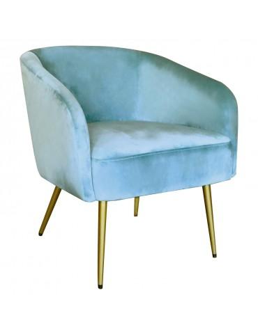 Fauteuil Goldman Velours Bleu Ciel Pieds Or lsr19125skyvelvet