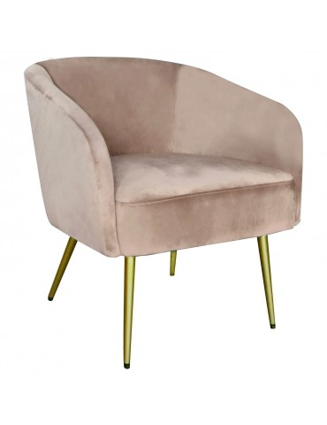 Fauteuil Goldman Velours Taupe Pieds Or lsr19125puttyvelvet