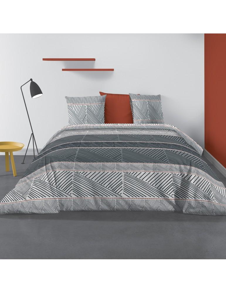 Parure de lit 2 personnes Casbaloz avec housse de couette et taies d'oreiller Imprimé 240 X 220 7179000503Les Ateliers du Linge