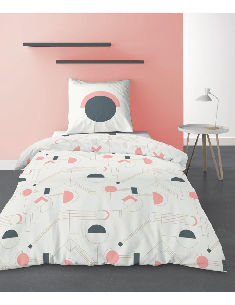 Parure de lit 1 personne Hawa avec housse de couette et taie d'oreiller Imprimé 140 X 200 7206000502Les Ateliers du Linge