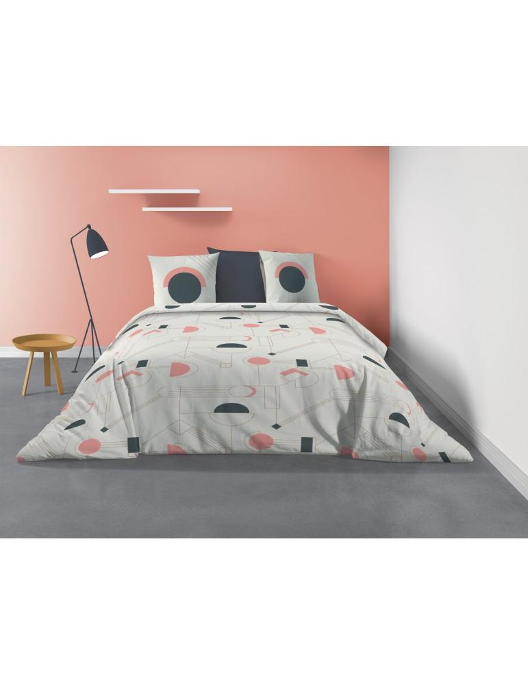 Parure de lit 2 personnes Hawa avec housse de couette et taies d'oreiller Imprimé 240 X 220 7210000503Les Ateliers du Linge