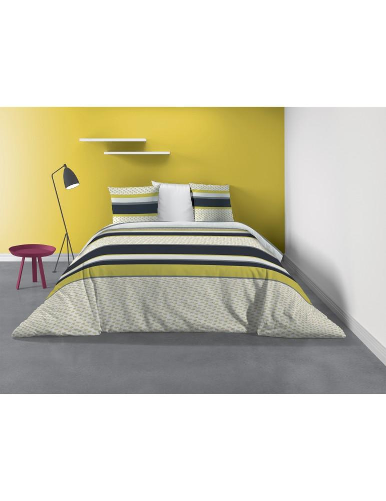 Parure de lit 2 personnes Mimo avec housse de couette et taies d'oreiller Imprimé 260 X 240 7241000503Les Ateliers du Linge