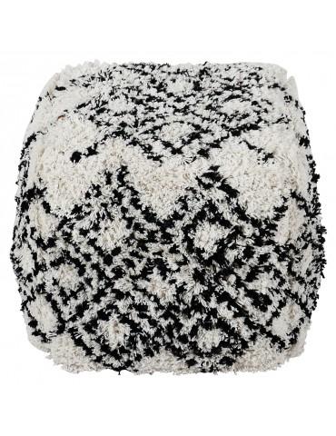 Pouf Tibet Tissu Blanc et Noir shy05