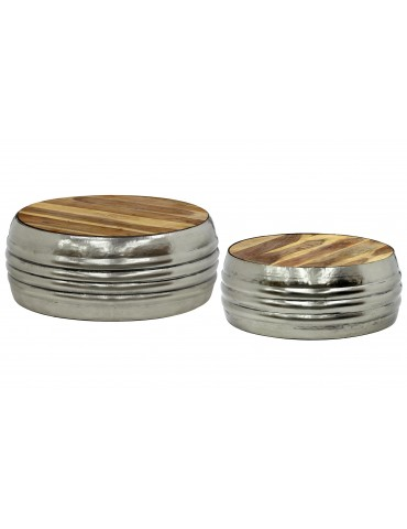 Lot de 2 tables basses Tahiti Bois et Nickel 36890