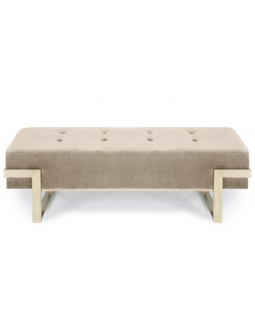 Banquette Istanbul Velours Taupe Pieds Or lsr19126puttyvelvet