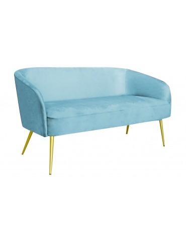 Canapé 3 places Goldman Velours Bleu Ciel Pieds Or lsr19131skyvelvet