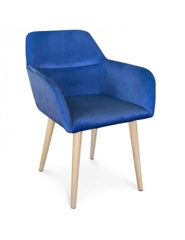 Chaise / Fauteuil scandinave Fraydo Velours Bleu lsr19118bluevelvet
